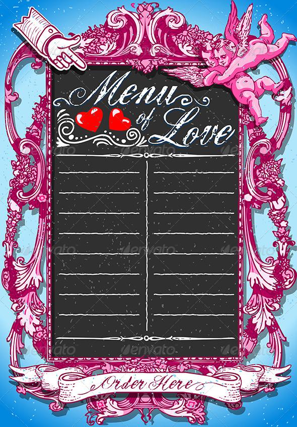 GraphicRiver Vintage Pink Blackboard for Valentine's Menu 6503931