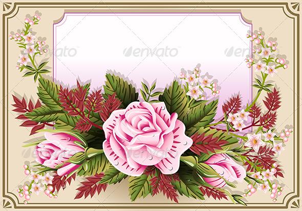 GraphicRiver Pink Roses Ornament on Vintage Frame 6503982