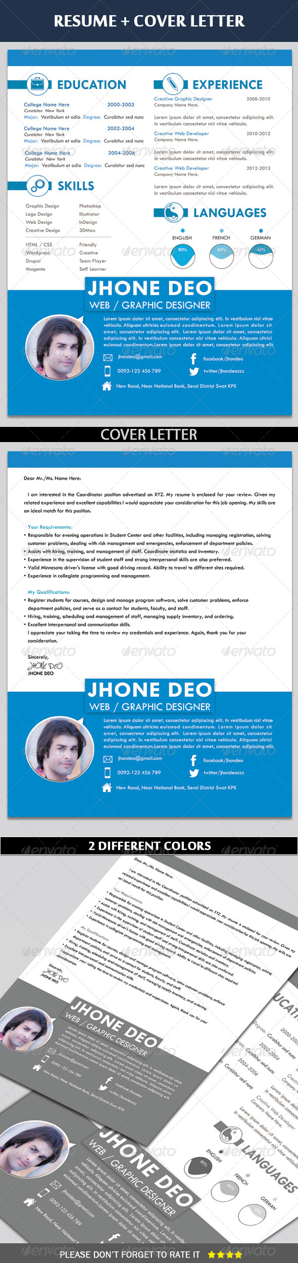 GraphicRiver Clean Resume & Coverletter 6504466