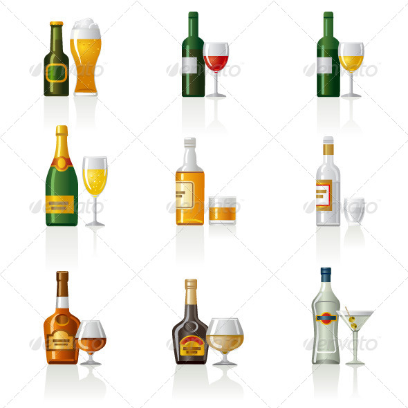 GraphicRiver Alcohol Drinks Icon Set 6504952
