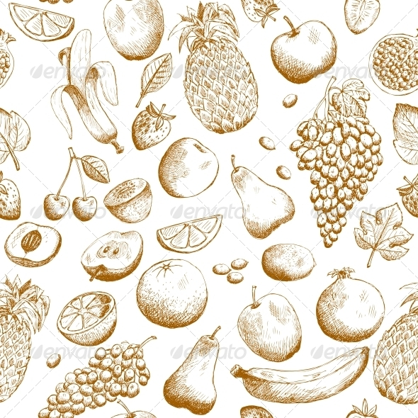 GraphicRiver Hand Drawn Fruits Seamless Pattern 6505106