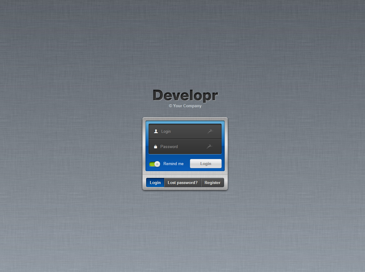 Developr - Fully Responsive Admin Skin - Full-featured login page
