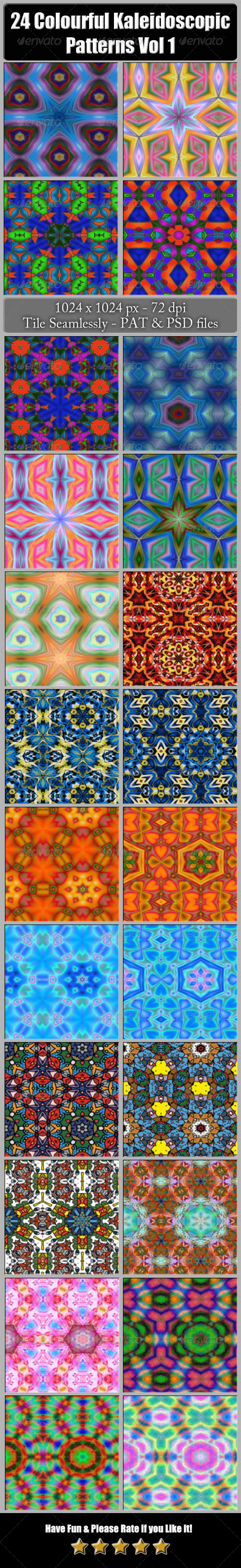 GraphicRiver 24 Colourful Kaleidoscopic Patterns Vol 1 6505786