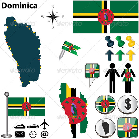 Map of Dominica - Travel Conceptual