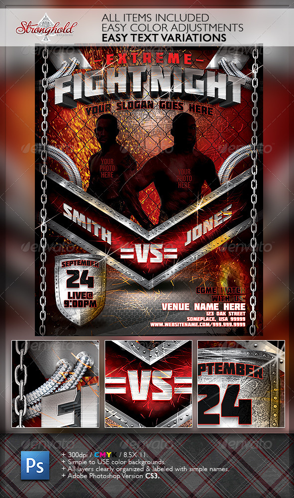 GraphicRiver Extreme Fight Night Flyer Template 6506031