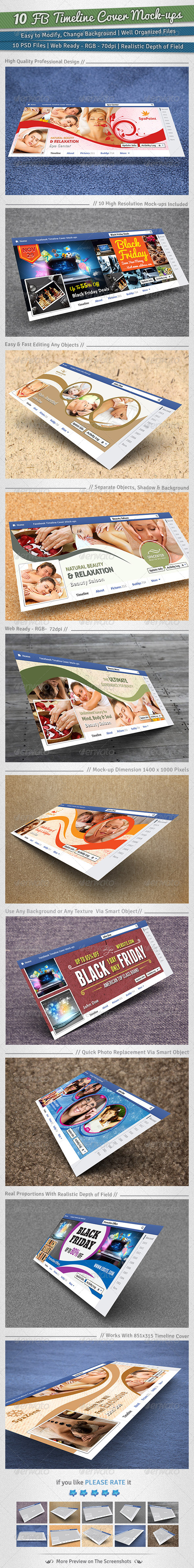 GraphicRiver 10 Facebook Timeline Cover Mock-ups 6455257