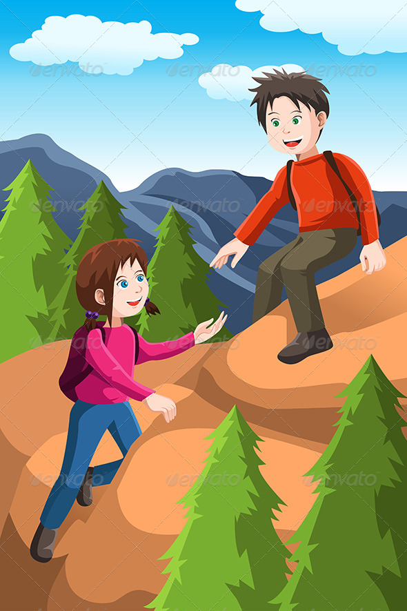 GraphicRiver Kids Hiking 6506177