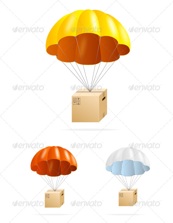 GraphicRiver Airmail Shipping Delivery Parachute with Box Set 6506284