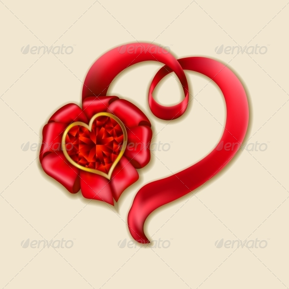 GraphicRiver Heart from Ribbon Valentine s Day Background 6506300