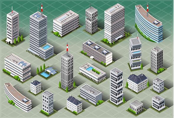 GraphicRiver Isometric European Buildings 6506340