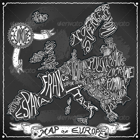 GraphicRiver Europe Map on Vintage Handwriting BlackBoard 6506661