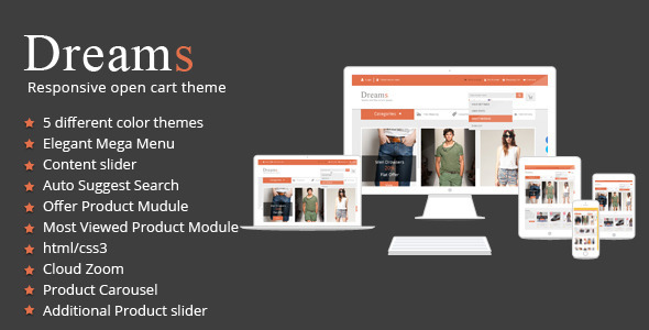 ThemeForest Dreams Multi-Purpose Responsive Opencart Theme 6436372
