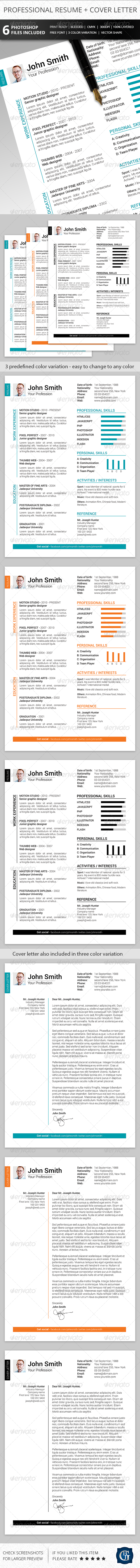 2-Piece Clean Resume + Cover Letter - Resumes Stationery