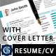 2-Piece Clean Resume + Cover Letter - GraphicRiver Item for Sale