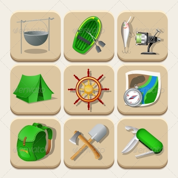 GraphicRiver Camping Color Icons Vector Illustration 6507225