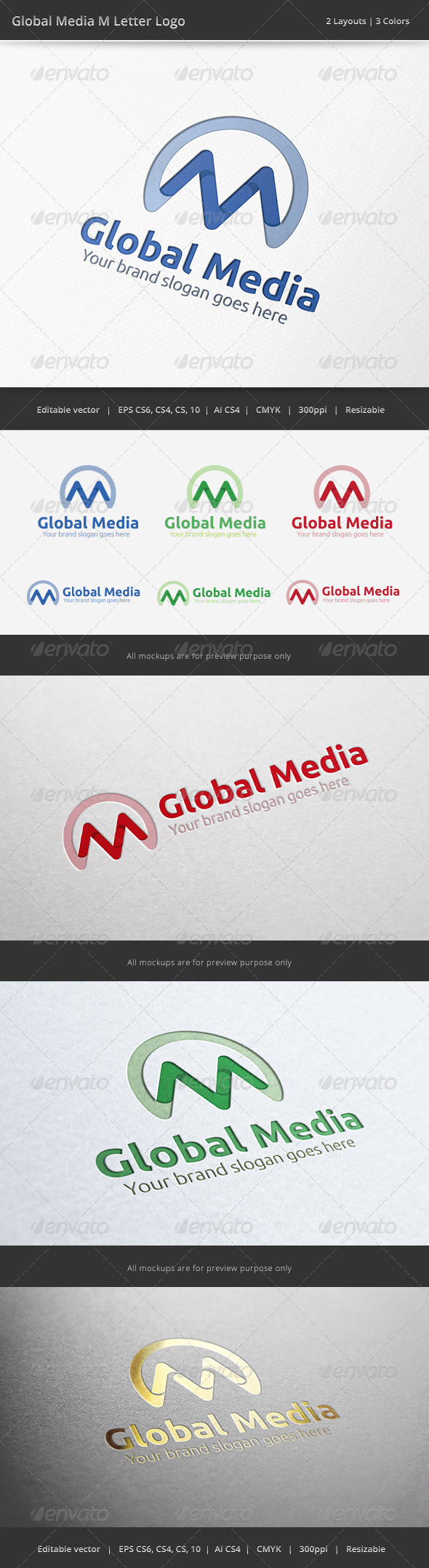 GraphicRiver Media Global M Letter Logo 6507292