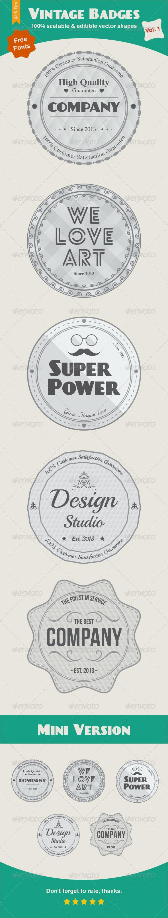 GraphicRiver Vintage Badges Vol 1 6503978