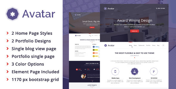 Avatar - All in 1 One Page Parallax Template