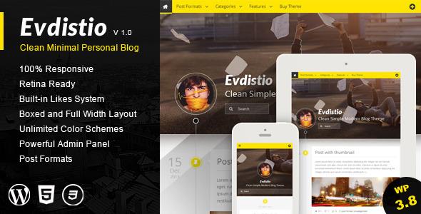 ThemeForest Evdistio Responsive Clean Minimalist Blog Theme 6473955