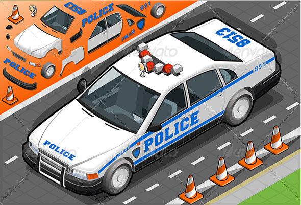 GraphicRiver Isometric Police Car in Front View 6507625