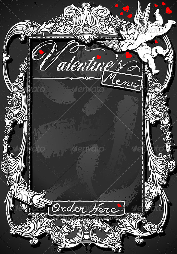 GraphicRiver Vintage Blackboard for Valentine s Menu 6507627