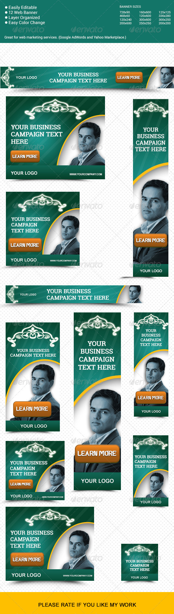 Corporate Decorative Marketing Web Banners - Banners & Ads Web Elements