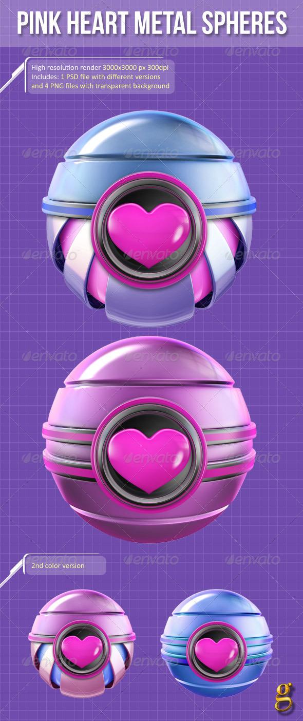 GraphicRiver 3D Pink Heart Metal Spheres 6508763