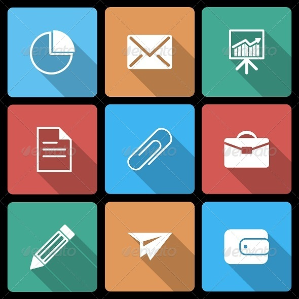 GraphicRiver Business Icons with Long Shadow 6508836