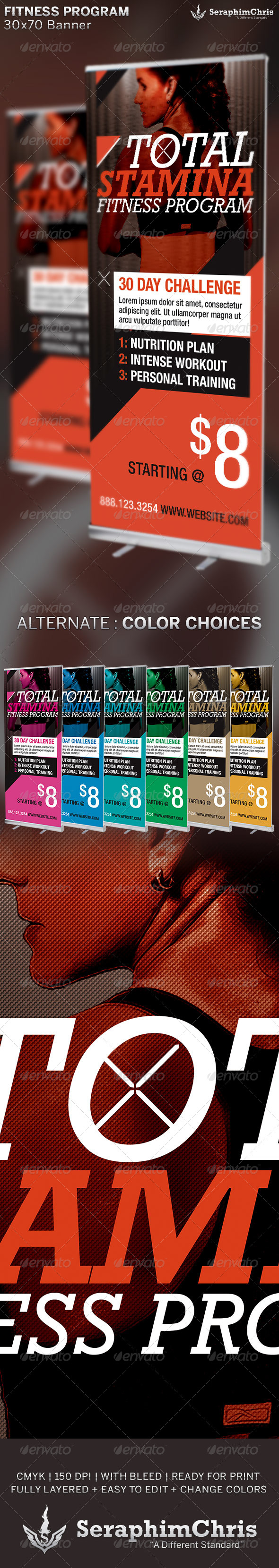 GraphicRiver Total Stamina Fitness Banner Template 6509244