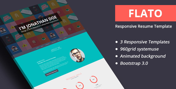 ThemeForest Flato Responsive Resume Personal Portfolio Temp 6486867