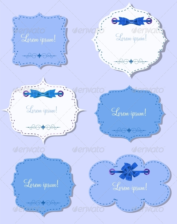 Set of Different Gift Cards with  Ribbons,  Design