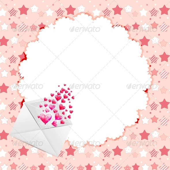 Valentines Day Heart Background, Vector