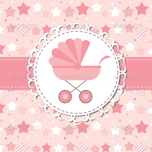 GraphicRiver Vector Illustration of Pink Baby Carriage for Newborn 6509339