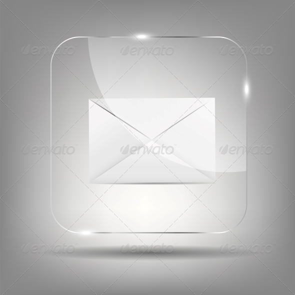 GraphicRiver Mail Icon in Glass Button Vector Illustration 6509350