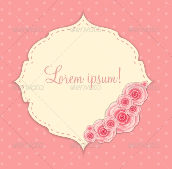 GraphicRiver Cute Frame with Rose Flowers Vector Illustration 6509356