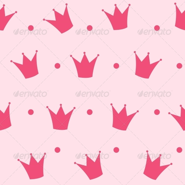 GraphicRiver Princess Crown Seamless Pattern Background Vector 6509427