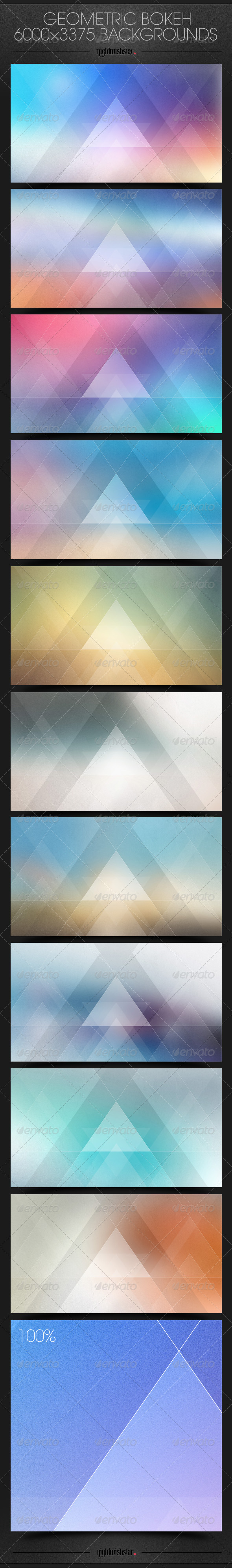 GraphicRiver Geometric Bokeh Triangles Backgrounds 6509507