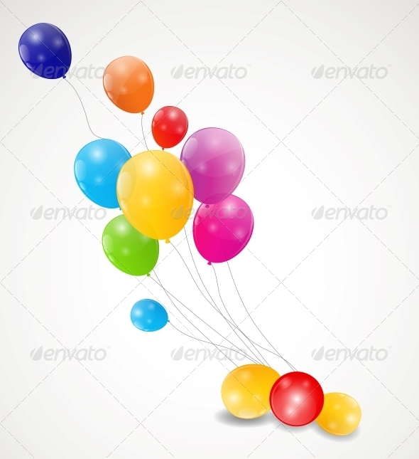 GraphicRiver Color Glossy Balloons Background Vector Illustrati 6509918