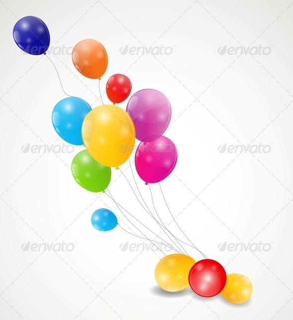 GraphicRiver Color Glossy Balloons Background Vector Illustrati 6509918
