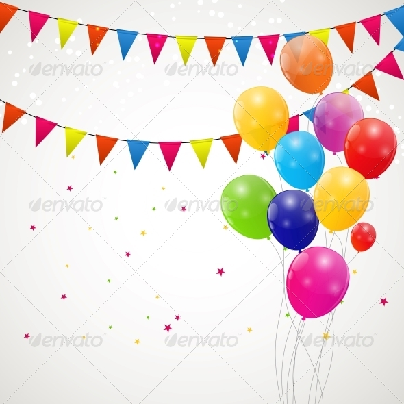 GraphicRiver Color Glossy Balloons Background Vector 6509948