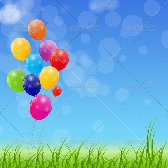 GraphicRiver Color Glossy Balloons Background Vector 6509957