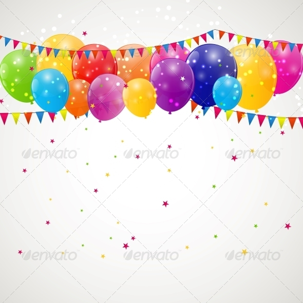 GraphicRiver Color Glossy Balloons Background Vector 6509960