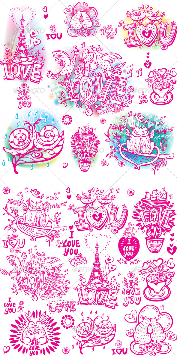 GraphicRiver Set of Love Sketch Style 6510080
