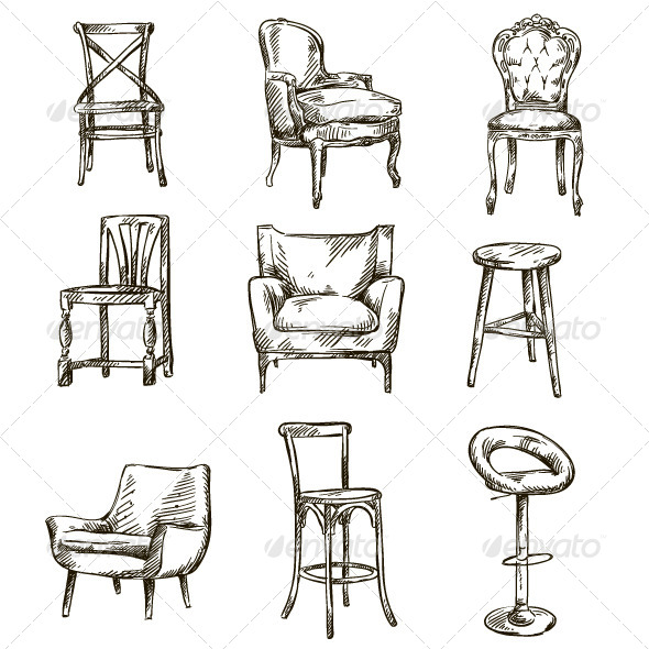 GraphicRiver Set of Hand Drawn Chairs 6510459