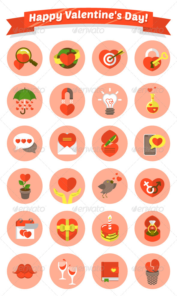 Modern Flat Love Symbols - Miscellaneous Icons