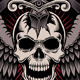 Winged Skull with Sword Stuck - GraphicRiver Item for Sale