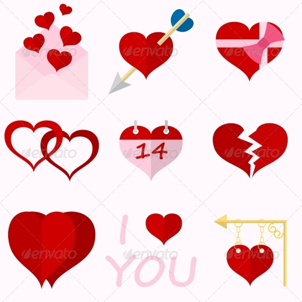 GraphicRiver Set Icons of Valentine s Day Red Hearts 6511616