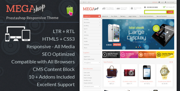 ThemeForest Mega Shop Responsive Prestashop Theme 6511851