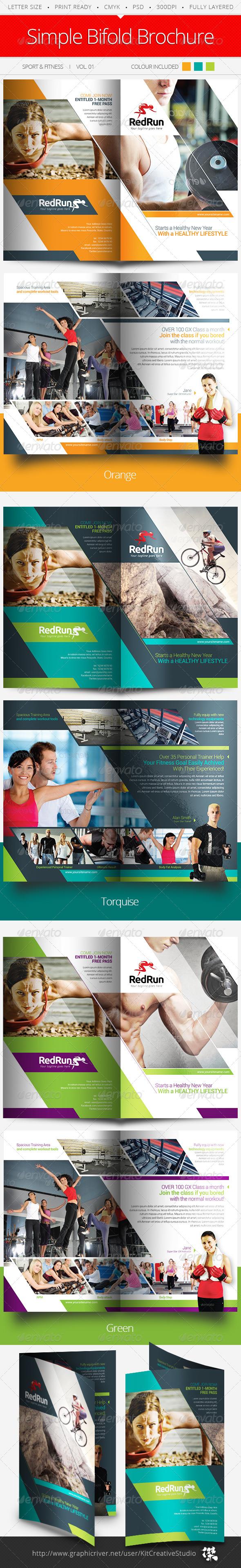 Sport & Fitness Bifold Brochure Vol.01 - Brochures Print Templates