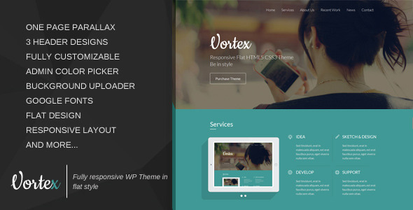 Vortex - One Page Parallax Flat WordPress Theme - Portfolio Creative